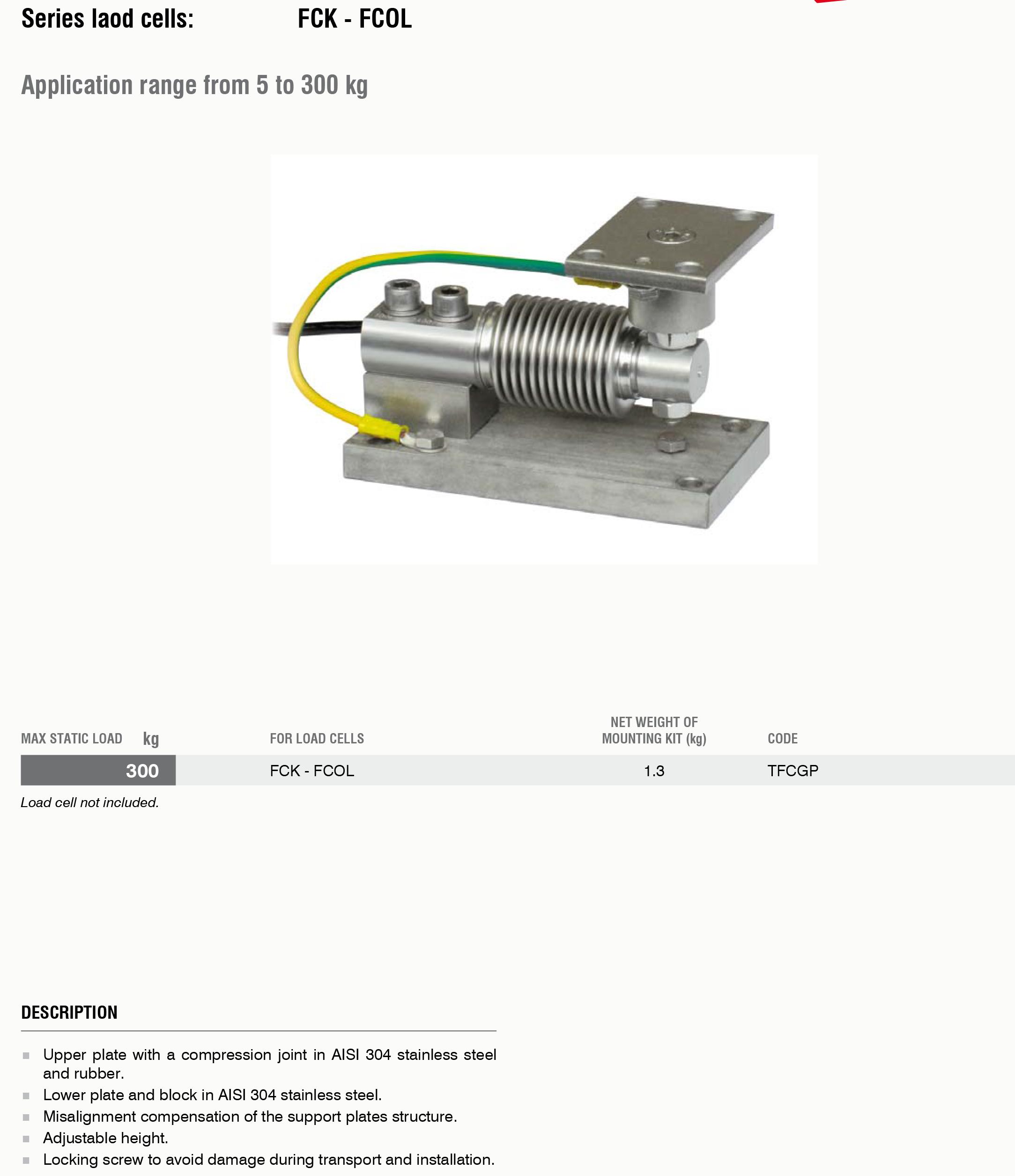 TFC GP称重模块外外观安装尺寸图