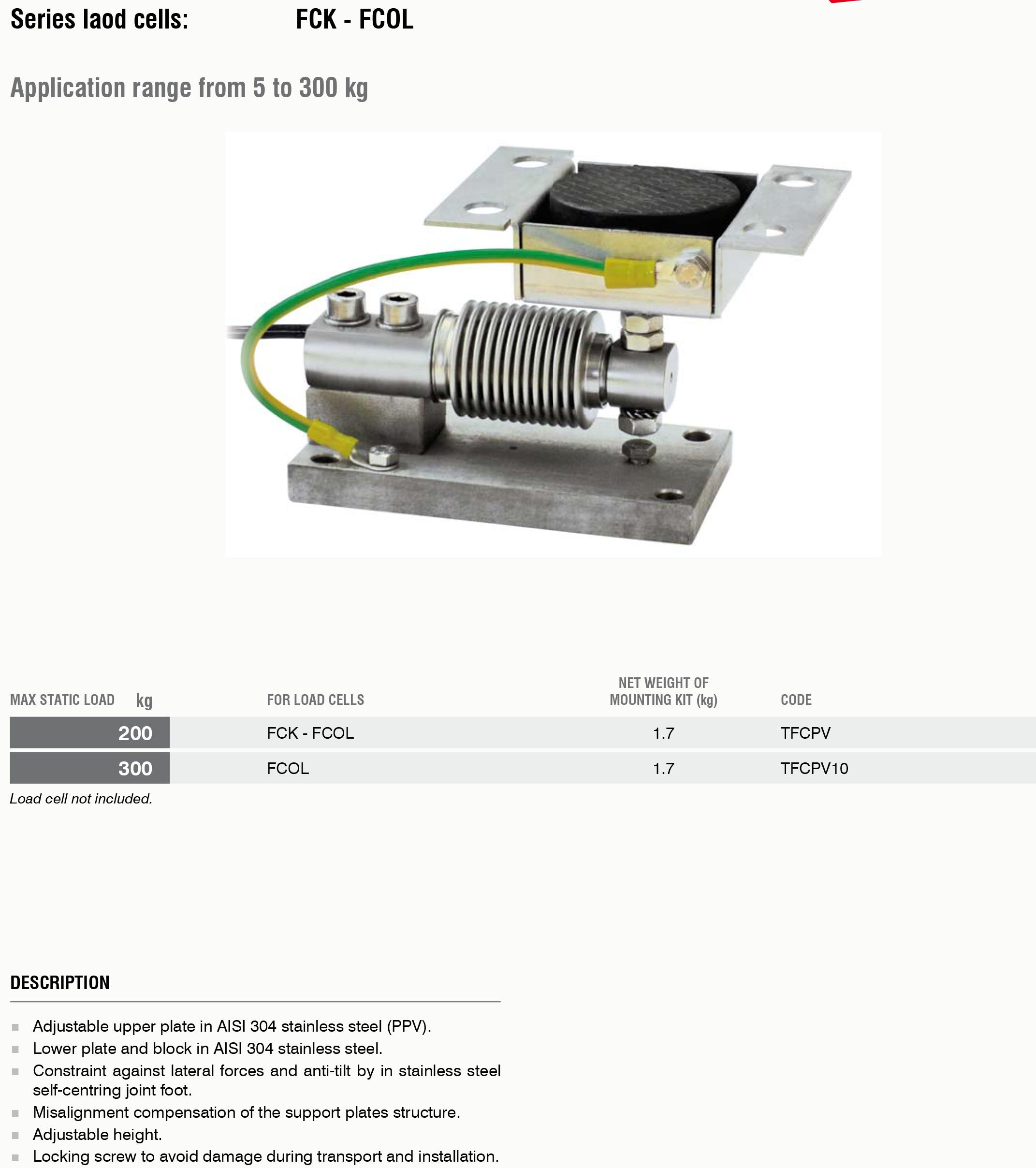 FC PV称重模块尺寸及技术规格