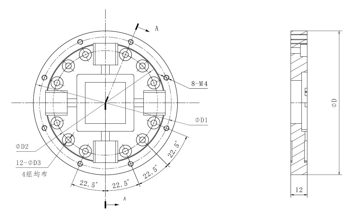常州坤维(kunwei)KWR-N系列关节扭矩传感器外观尺寸图