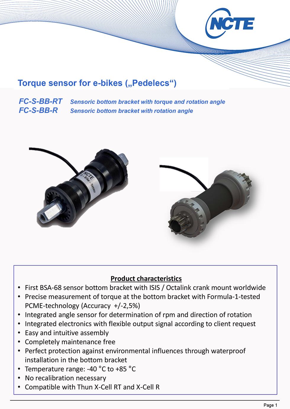 FC-S-BB-RT 电动自行车扭矩传感器