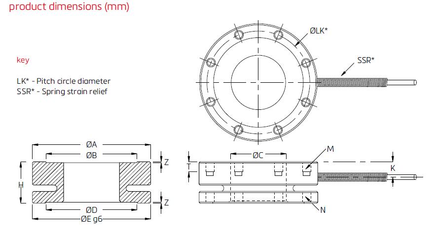 JF1-5kN压力传感器(2-100kN)德国FLINTEC(富林泰克)