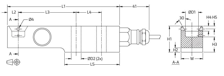 SB4梁式称重传感器(510-10,197kg)_德国FLINTEC(富林泰克)