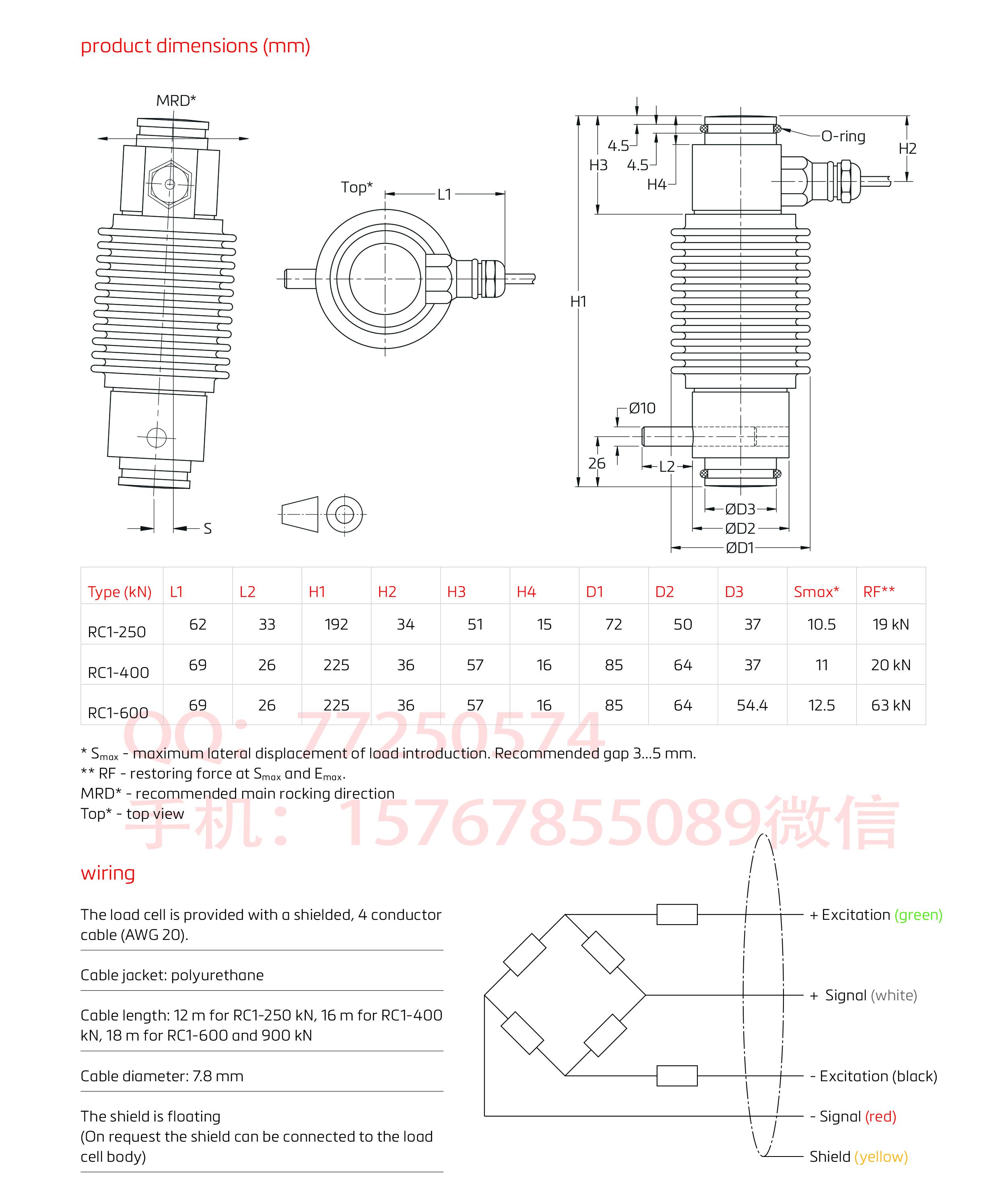 RC1压缩称重传感器(25.5t-91.8t)