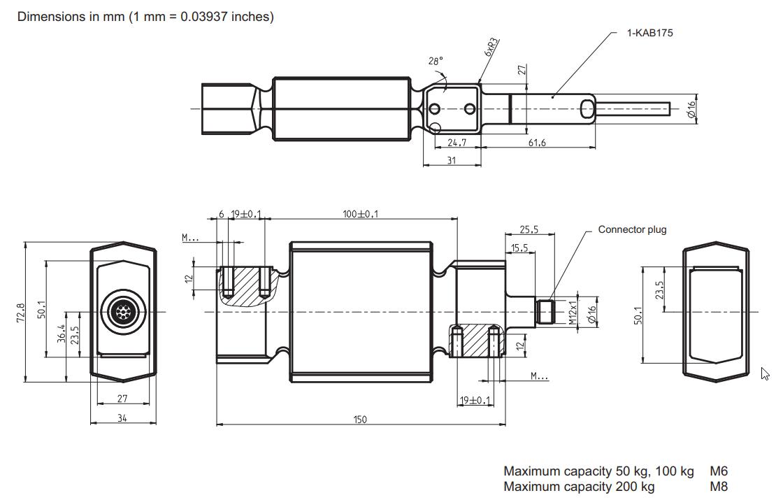 PW37P-50Kg卫生型称重传感器,量程高达 PW37P-100Kg