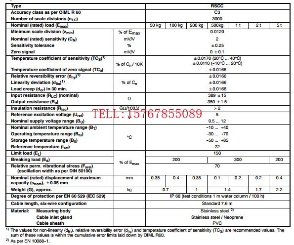 RSCC3/200Kg产品技术参数